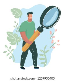 Happy man IT expert holding in hands a big magnifying glass or loupe. Guy searching for information with giant magnifier. Data analysis and research, investigation concept. Vector cartoon illustration