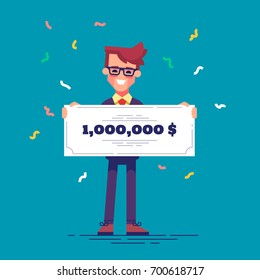 Happy man in formal suit is holding a bank check for a million dollars. Lottery gain concept. Vector illustration in flat design.