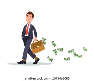 Happy man with a full briefcase of money in hand and cash fly and fall behind. Vector illustration concept abundance of money and over spending