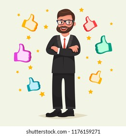 Happy man in glasses with beard with gesture like around him. Vector illustration in cartoon style. Business success in internet concept. Successfull blogger, manager or employer