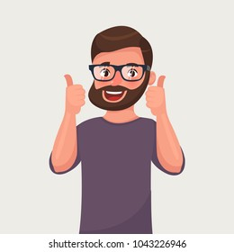 Happy man in glasses with beard shows gesture cool. Vector illustration in cartoon style