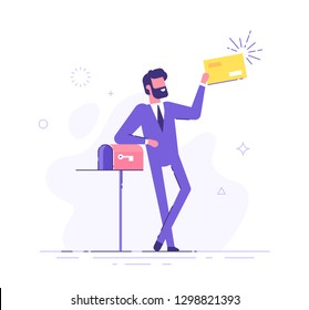 Happy man got an important letter. Handsome businessman or manager is standing nearby mailbox and holding an envelope. Modern vector illustration.