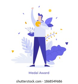 Happy man holding golden medal and celebrating victory. Concept of business success, competition winner, champion or leader, triumph, prize award. Modern flat vector illustration for poster, banner.