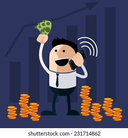 Happy man holding money and phone cartoon flat design style