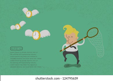 happy man hunting flying time  , eps10 vector format