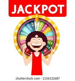 Happy Man with Jackpot Wheel of Fortune Isolated on White Background. Vector.