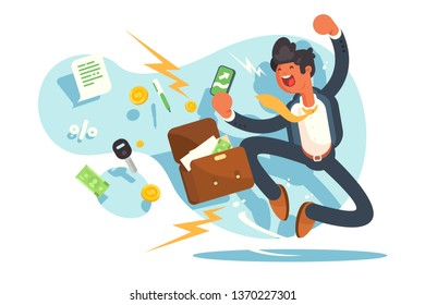 Happy man jumping for joy vector illustration. Businessperson celebrate successful deal. Happy corporate worker smile and laugh praising luck flat style design. Money and trade concept