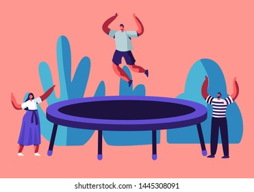 Happy Man Jumping on Trampoline, Friends Cheering. Young People Having Fun Jump and Bouncing, Spare Time, Activity, Amusement Park, Corporate Party Entertainment. Cartoon Flat Vector Illustration