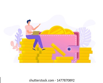Happy man with laptop sitting on stack of coin and big wallet, vector illustration concept, can use for, landing page, template, ui, web, mobile app, poster, banner, flyer, magazine, label, voucher