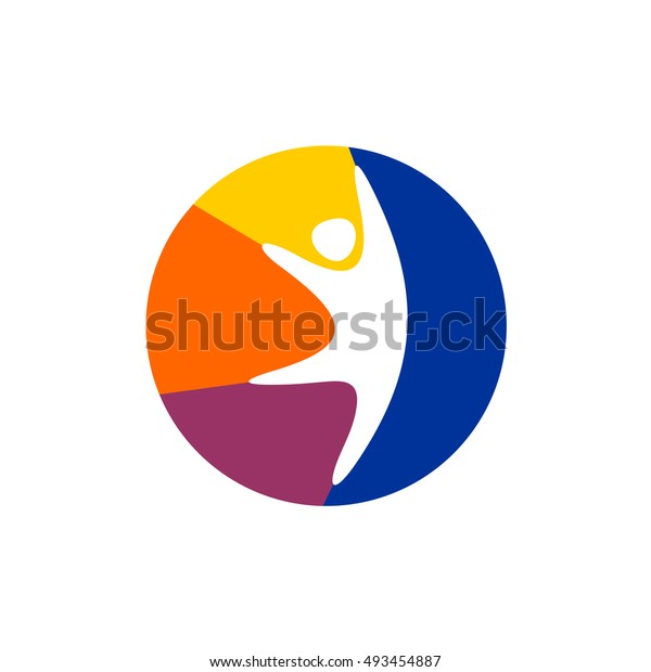 Happy man logo. Jumping man with colorful vibrant ball background symbol. Kids club concept.
