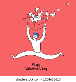 Happy man in love carries a gift box with hearts. Valentine's Day Vector Card. Hand drawn style on red background. Collection cards