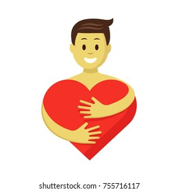 Happy man in love hugging red heart. Romantic colorful character vector illustration. Heart hug