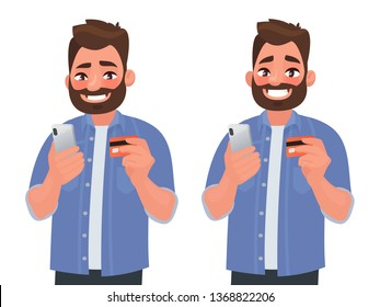 Happy man makes online shopping with a bank card through the phone. Vector illustration in cartoon style