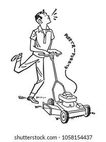 Happy Man Mowing Lawn - Retro Clip Art Illustration