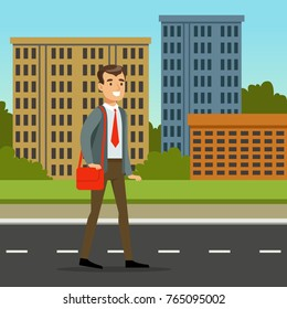 Happy man in official clothes walking down the street with red bag. Background with city buildings. Flat cartoon vector illustration.