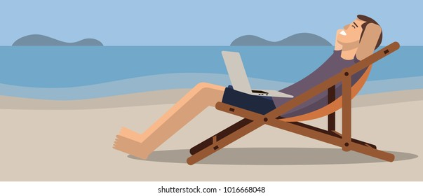 Happy man on the beach with a laptop. Flat style vector illustration.