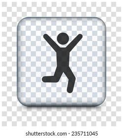 Happy Man on Transparent Square Button