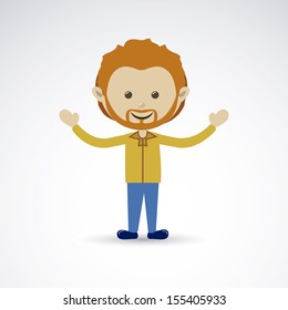 Happy man over gray background vector illustration