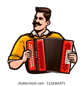 Happy man playing the accordion. Music festival concept. Cartoon vector illustration