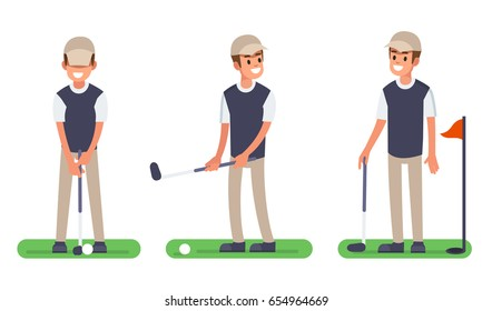Happy man playing golf outdoor. Flat style vector illustration isolated on white background.