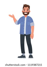 Happy man points out something. Presentation or showing. Element for advertising goods. Vector illustration in cartoon style