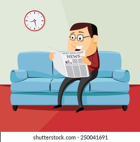 Happy man is reading a newspaper on the couch in the hotel room. Simple cartoon vector illustration.