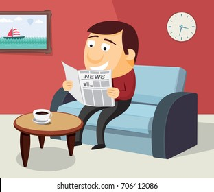 Happy man is reading a newspaper on the sofa in the living room. Simple flat cartoon vector illustration.