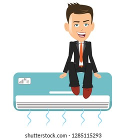 Happy Man salesman person businessman with a big smile sitting over a air conditioner ac