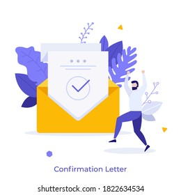 Happy man and sheet of paper with green check mark inside envelope. Concept of confirmation, acceptance or approval letter, verification. Modern flat colorful vector illustration for banner, poster.