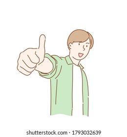 Happy man showing gesture with thumb ups. Hand drawn character style vector.
