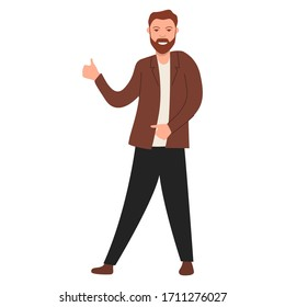 Happy man shows thumb up.Guy thumb lifted up. Vector flat character.Isolated on a white background.