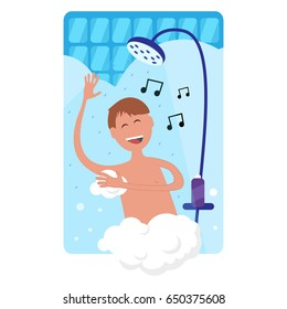 Happy man singing and taking shower in bathroom. Shower with running water.
