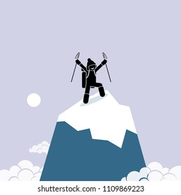 Happy man successfully climb on top of the mountain. Vector artwork depicts the concept of success, self achievement, and accomplishment.
