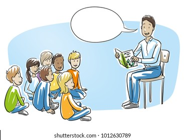Happy man, teacher, nurse or parent, reading a book to a multi ethnic group of children. Hand drawn cartoon sketch vector illustration, whiteboard marker style coloring.