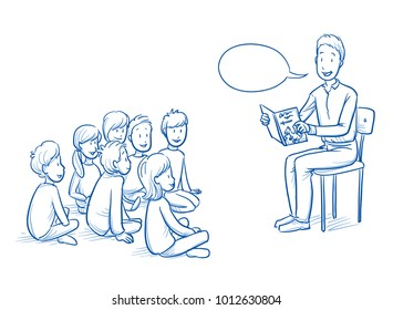 Happy man, teacher, nurse or parent, reading a book to a multi ethnic group of children. Hand drawn line art cartoon vector illustration.