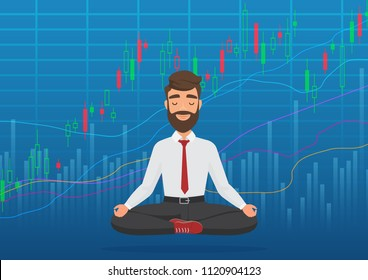 Happy man trader meditating under rising crypto or stock market exchange chart. Business trader, finance stock market graph concept. Growing bullish stock Market. Balance feeling.