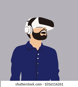 Happy man in VR headset on grey background