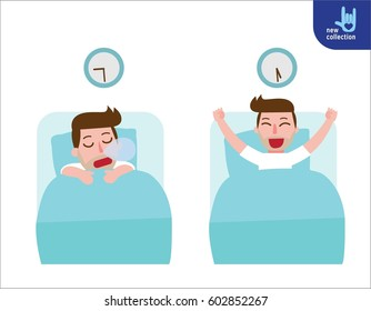 happy man wake up on the stretching bed.and sleeping. good morning and good night.People healthy lifestyle concept.Vector flat style cartoon character design illustrationIsolated