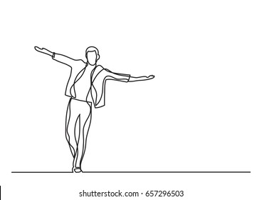 happy man walking - single line drawing