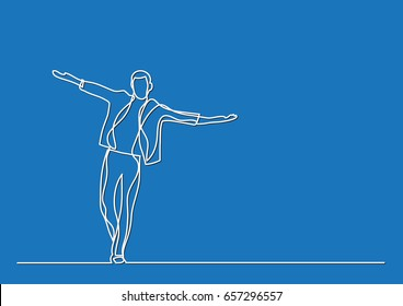 happy man walking - single line drawing