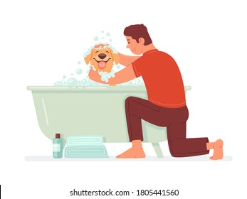 Happy man washes the dog in the bathroom. The guy takes care of his pet. Hygiene home animal. Vector illustration in flat style