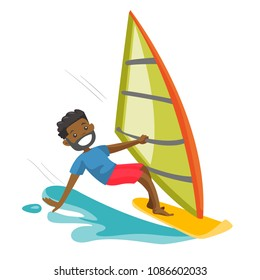 A happy man in wetsuit rushes on the windsurfing board with sail in sea. Windsurfing water sport and summer activities lifestyle concept. Vector cartoon illustration isolated on white background.