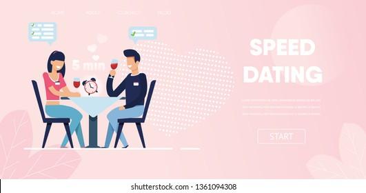 Happy Man Woman Ask Questions Flirt Chat at Restaurant Vector Illustration. Time Limit Clock on Table Blind Date Concept. Cartoon Boyfriend Girlfriend Conversation Romantic Dinner Cafe