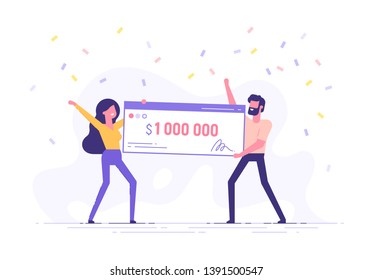 Happy man and woman holding a bank check for a million dollars. Lottery gain or grant concept. Vector illustration in flat design.