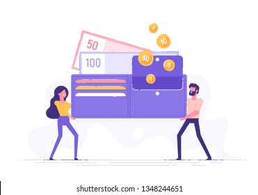 Happy man and woman are holding a huge wallet with money and credit cards. Family budget and finance concept. Home savings and investments. Modern vector illustration.
