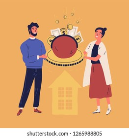 Happy man and woman holding purse or wallet with coins and banknotes. Concept of family or household budget, financial planning, money managing and saving. Vector illustration in flat cartoon style.