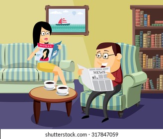 Happy man and woman reading a newspaper and magazine on the sofa in the living room - simple cartoon vector illustration. Husbands and their family life.