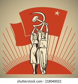 Happy man and woman together holding in their hands labor tools hammer and sickle on the background of the rising sun and waving socialism flag vector illustration