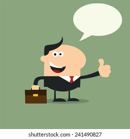 Happy Manager Giving Feedback In Modern Flat Design Vector Illustration With Speech Bubble