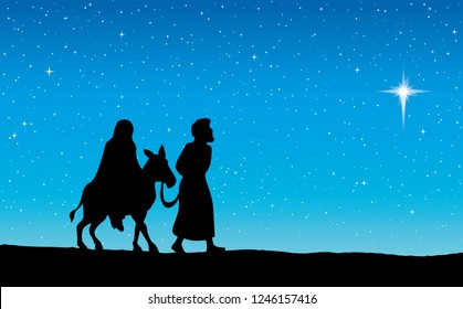 Happy Maria & Josef couple go ride walk journey on blue starry copyspace for text. Black hand drawn old merry xmas come eve god testament story. Ancient art graphic historic new born pray scene symbol